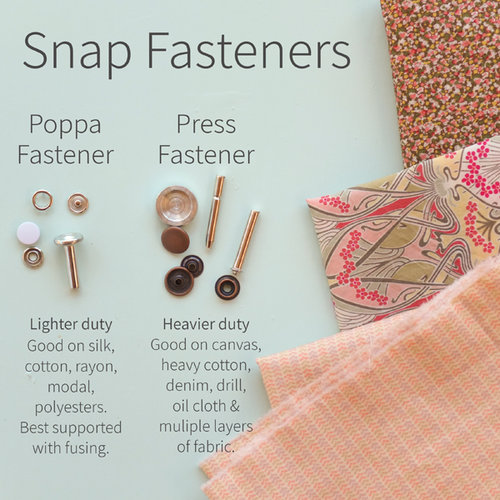 Snap fastener options for the Pattern and Cloth Simple Bib sewing pattern.