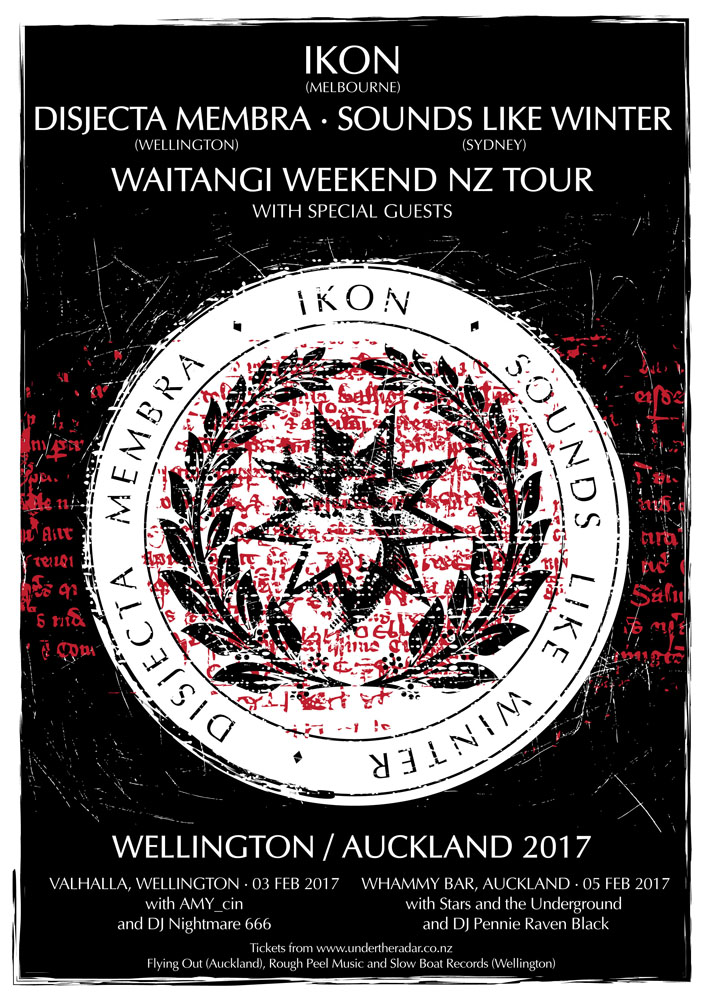 Coming shows in Wellington and Auckland, February 2017, with IKON, Sounds Like Winter and guests.  Poster by Sean Macintyre (Painted Brain).