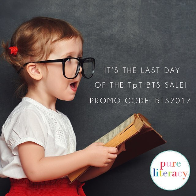 It's the last day of @teacherspayteachers back to school sale! So many good deals going on don't miss out! Promo code: bts2017 #btsreadywithtpt #bts2017 #tpt #pureliteracy #saleendstoday #stockup #teacherspayteachers #teachersofinstagram #teachersfollowteachers