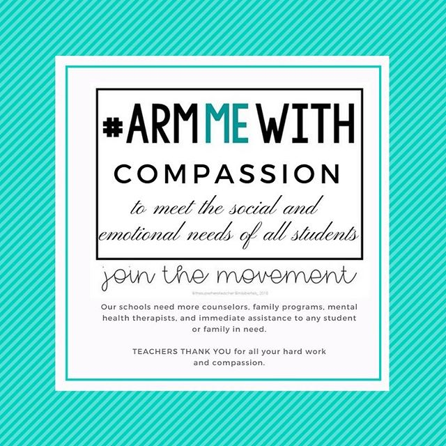 Arm our schools with the compassionate care of school counselors, behavioral therapists, school psychologists, social workers and other appropriate mental health services to support ALL students and families in need so we can actually engage in preventative measures. Let's make mental health a priority.  Thank you @superheroteacher and @missbertels_ two sweet teachers I know from Teachers Pay Teachers as colleagues for creating this image and starting this movement which is gaining traction. Thank you @easyteachingtools for sharing this template with me. Educators across the country are joining forces on social media to get our message across after the mass shooting this past week at a Florida school. We as teachers do NOT need to be armed in the classroom. I am challenging all my fellow teachers to join in. Here is a link to an article that has highlighted the movement and a link where you can download your template to make your own photo to post on social media! #armmewith  As a teacher I need resources and support to address the issues that arise. So teacher friends....will you stand up?  https://www.weareteachers.com/armmewith/.