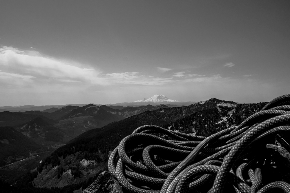 The south from the 2nd of 5 belay ledges, The Tooth, Snoqualmie region, WA.