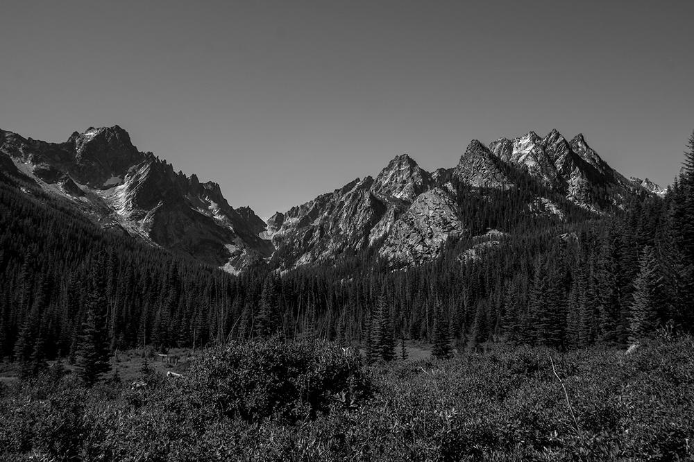 Argonaut Peak, Sherpa Peak and Mt. Stuart from the Stuart Lake trail.