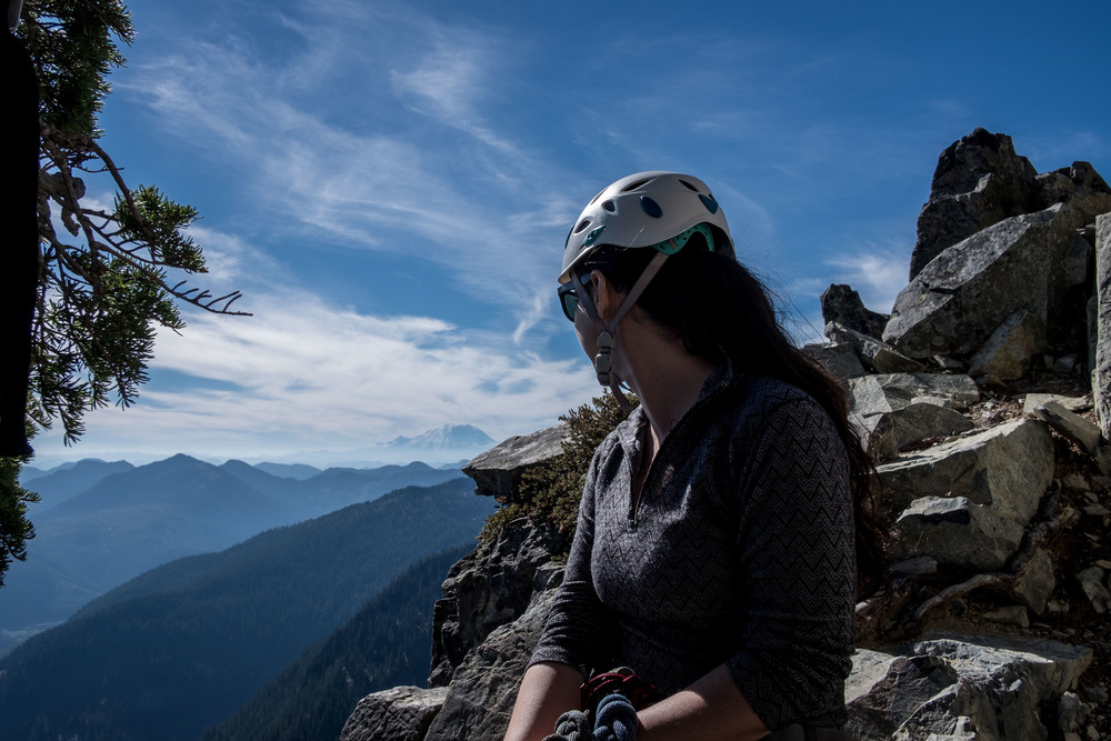 Looking south toward Mt. Rainier, from the 2nd belay ledge of The Tooth
