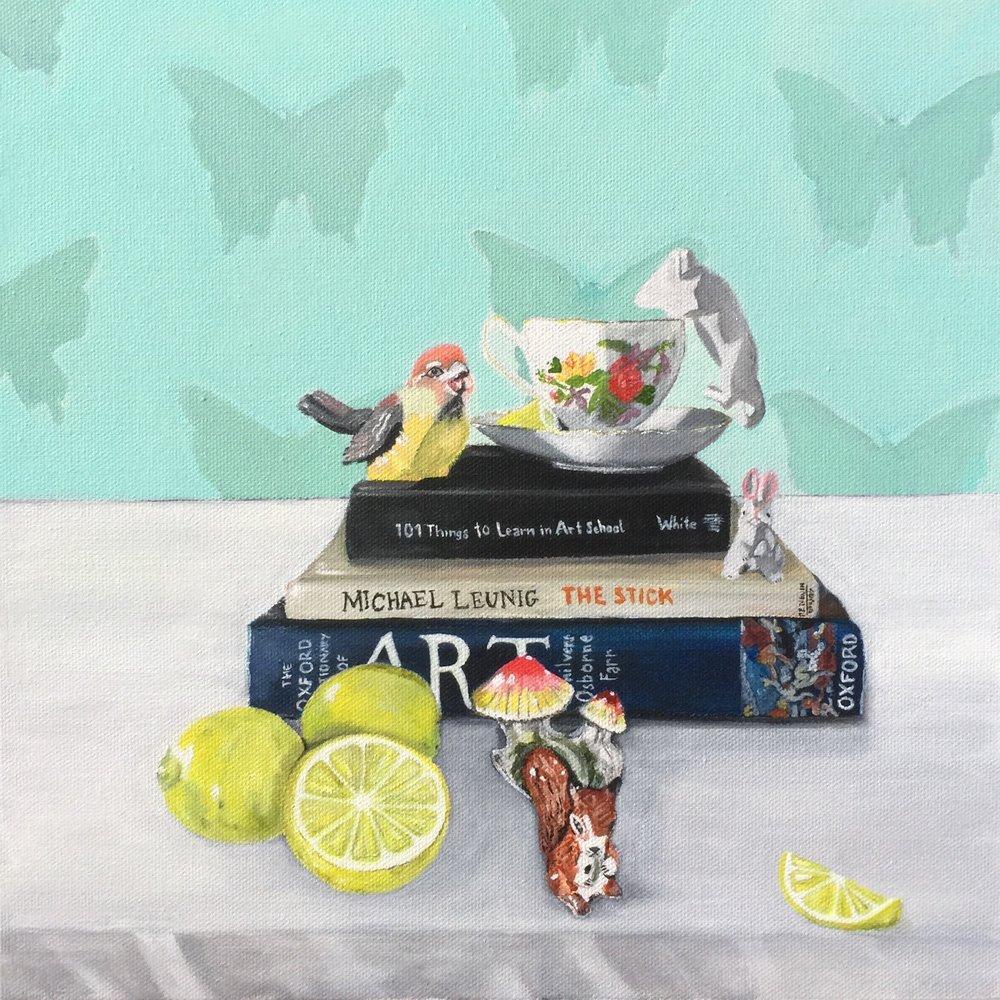 Tea & Lemons  by Vanessa Encarnacao, 30cm x 30cm, Acrylic on canvas, $480 (SOLD)