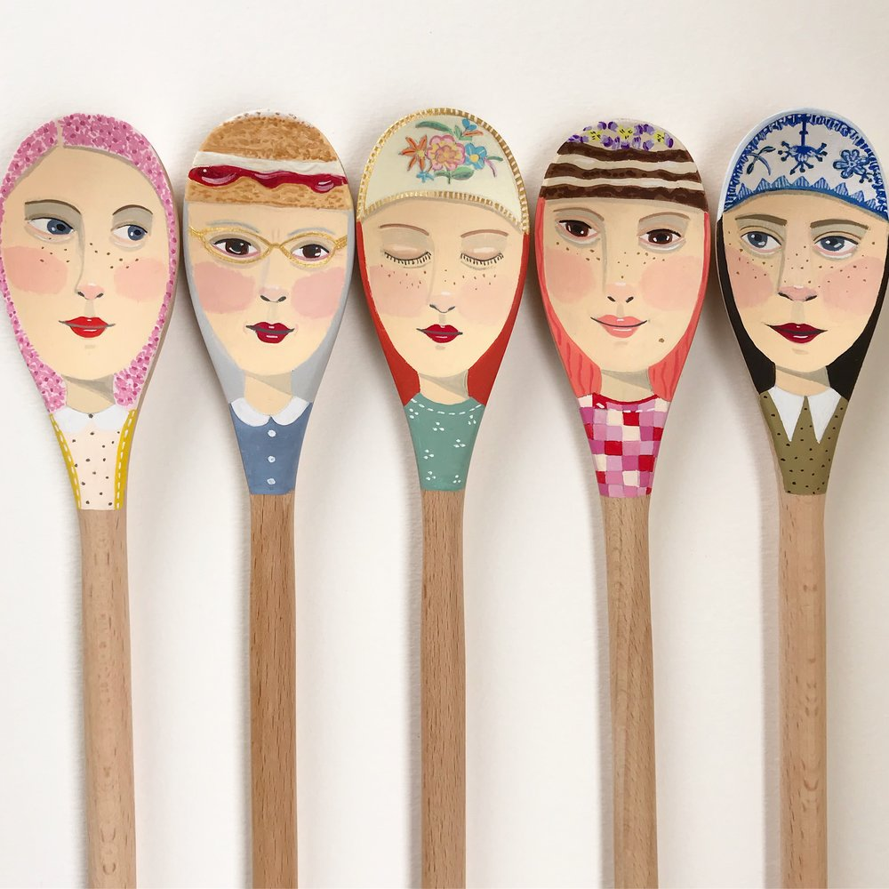 Various painted spoons  by Emma Palmer, 12.5 x 44cm in gold box frames; $320 each. Unframed $120 each