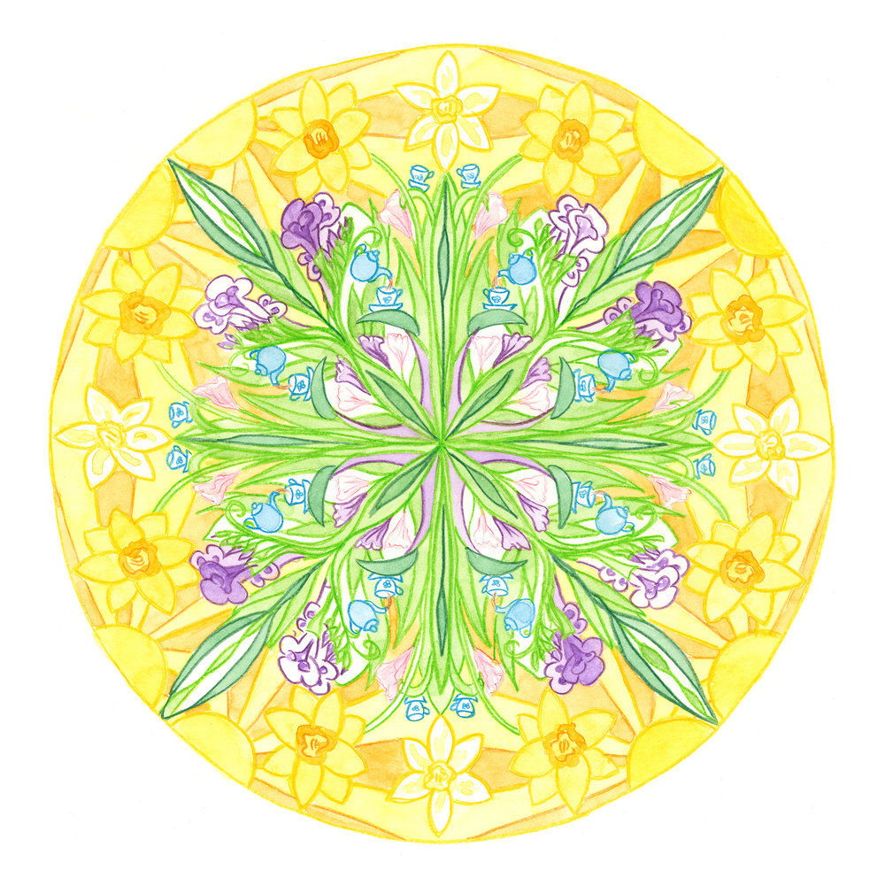 Spring Tea Kaleidoscope  by Emma Simmons, Pencil and watercolour, Giclée art print A2 size $250 (unframed)