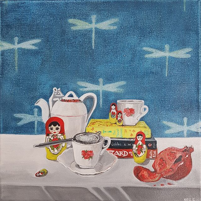 'Tea and pomegranate' by Vanessa Encarnacao ~ @applecore_art is a still life of quirky found objects! 30.5cm x 30.5cm Acrylic on canvas $480  Send a DM for further details or pop by the gallery inside @justasmidge.mittagong open 7 days a week.  #stilllifepainting #quirkyart #australianartist #mittagong #southernhighlands #applecoreart