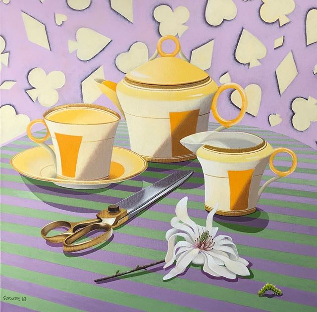 Libby Moore @libbymooreart you are one talented lady! 'Take your Time, Abs' is 47.5cm x 47.5cm and acrylic on canvas.  DM me for further details or pop by the little gallery inside @justasmidge.mittagong  #libbymooreart #springteaparty #acryliconcanvas #australianpainter  #contemporaryaustralianpainter #artforyourhome #southernhighlands