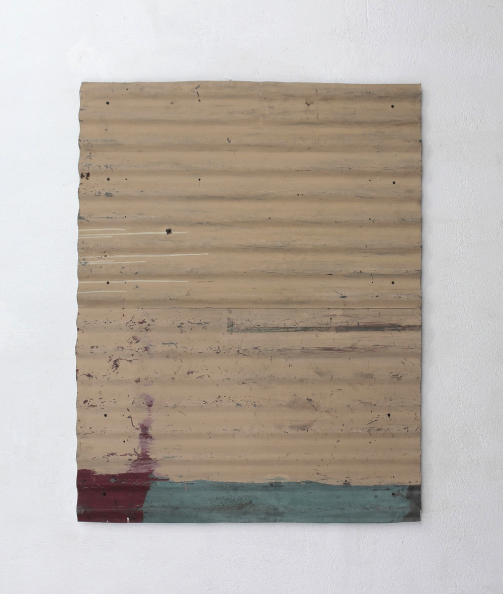 Recomposition No.3   2014  Found painted zinc sheet assembled on wood canvas, conserved with acryloid.   102 x 131 x 4.5 cm  Photo credit: Diego Sagastume