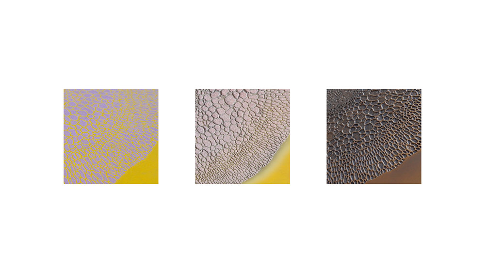 From left to right:    1. Prototyping - PVC stencil stitching    2. Sand blasting - Pressure and distance optimisation    3. Coating - Metallic textures experimentation