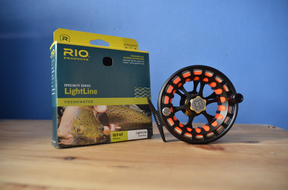 The LightLine sitting pretty on my chosen river reel.