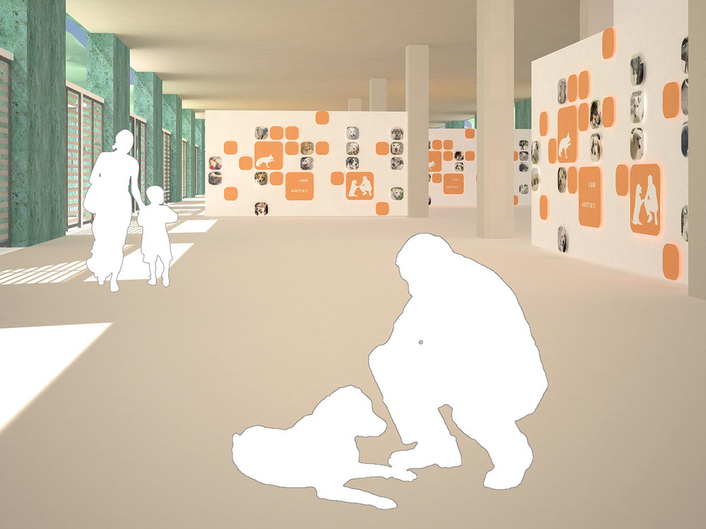 Energy efficient animal adoption park in Rome, architectural design, 3D modelling & rendering by Chiara Mensa
