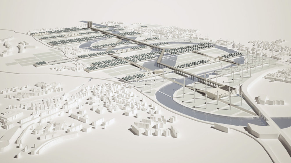 Energy park in the northen suburb of Rome, architectural design, 3D modelling & rendering by Chiara Mensa