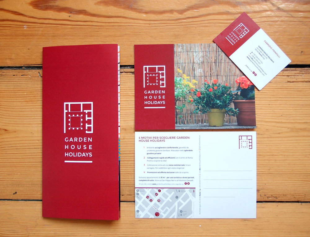 Garden House Holidays print collateral