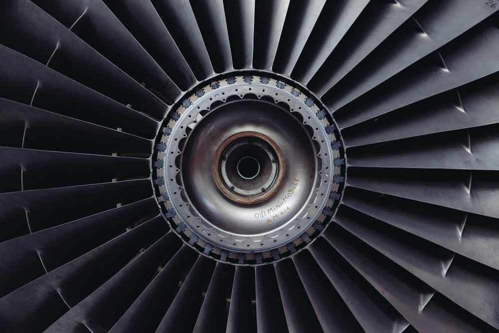 Airplane turbine, aviation