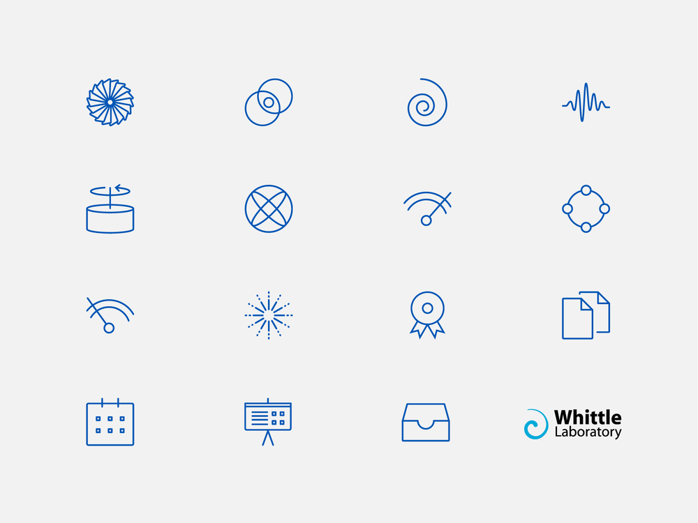 Whittle laboratory icon set, by Chiara Mensa for Onespacemedia