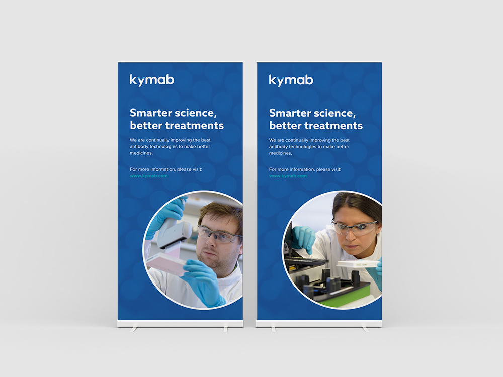 Kymab rollup banners by Chiara Mensa, for Onespacemedia