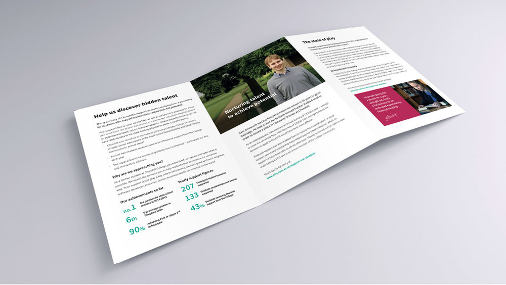Churchill Calling Campaign trifold brochure, by Chiara Mensa for Onespacemedia