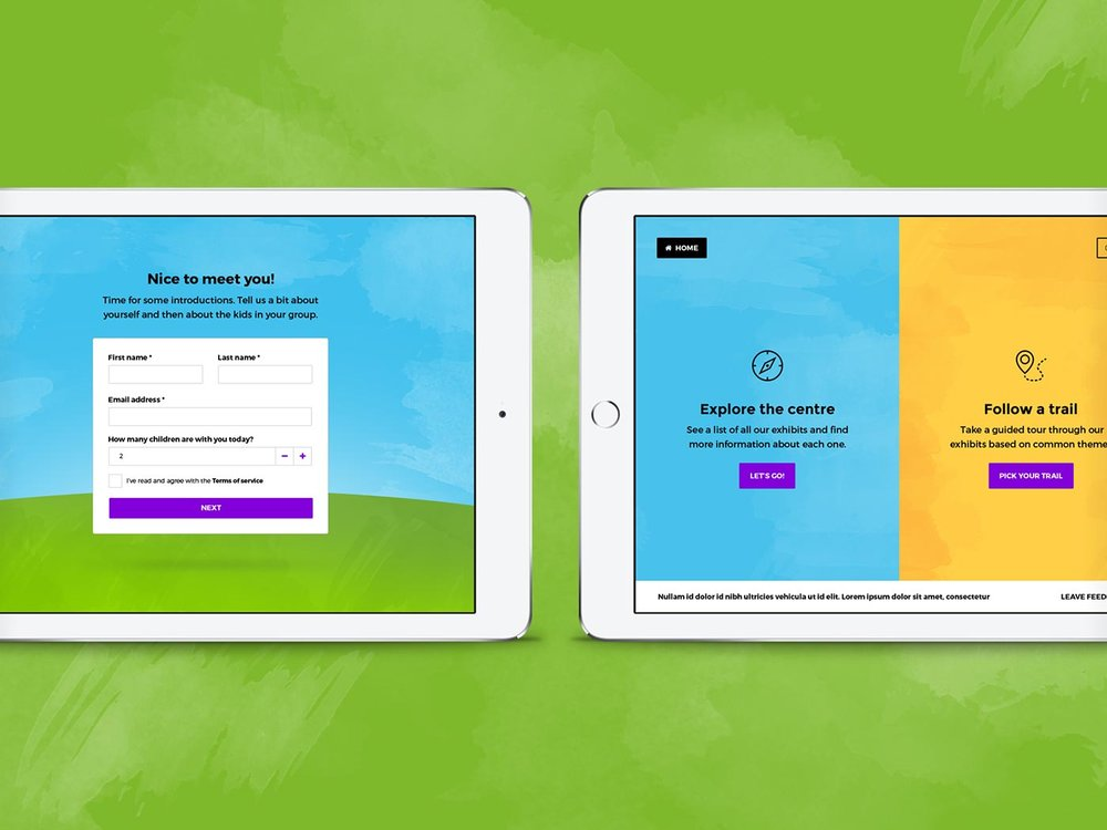 Interactive guide sign up and choose experience screens, by Chiara Mensa