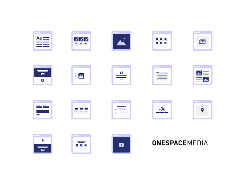 CMS iconset, by Chiara Mensa for Onespacemedia
