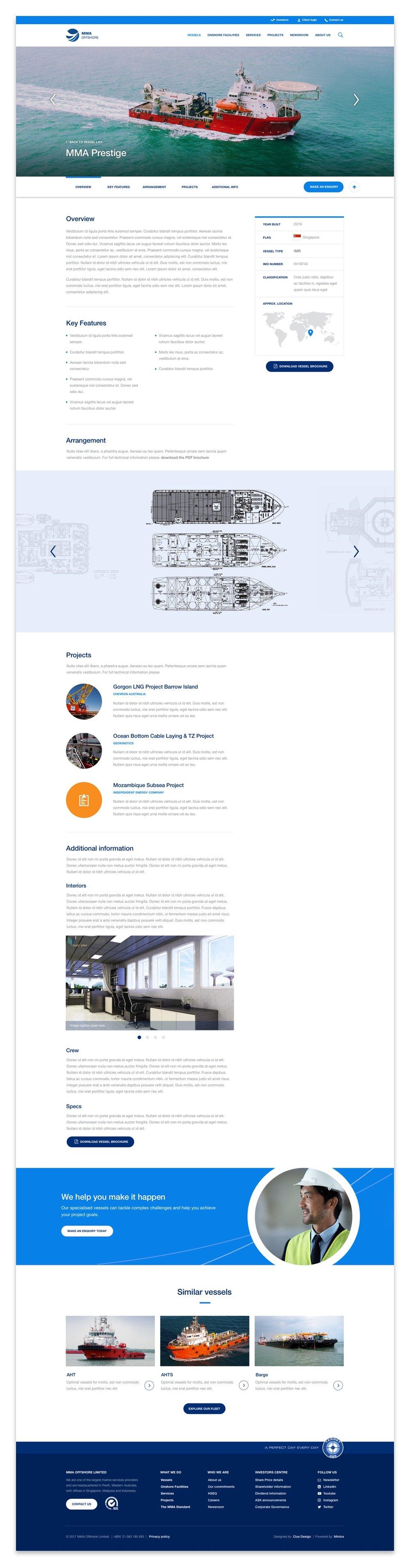 MMA Offshore marine vessels web UI UX design