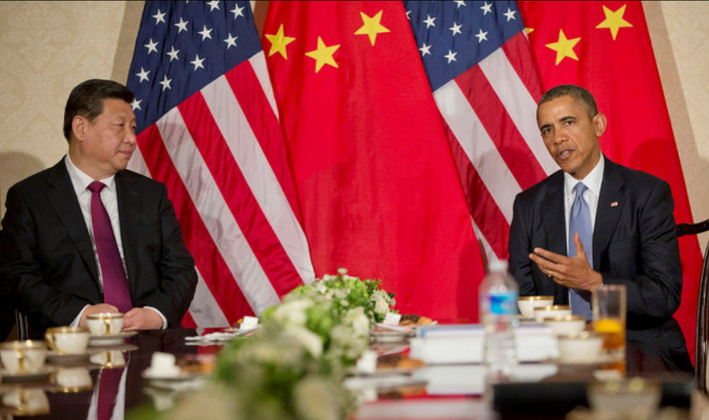 US President Barack Obama during a bilateral meeting with Chinese President Xi Jinping. U.S. Embassy The Hague