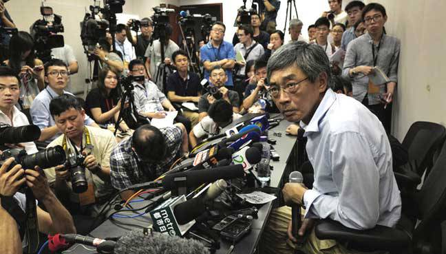 Lam Wing-kee's press conference. Photo: AFP.