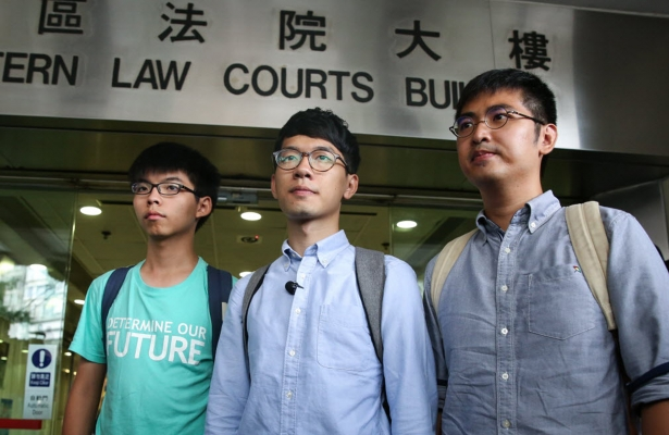 Left to right: Joshua Wong, Nathan Law and Alex Chow, outside Eastern Court in August 2016. Photo: Sam Tsang/SCMP