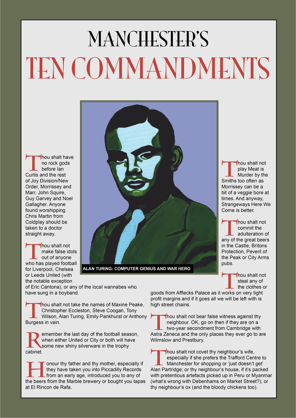 Manchester's 10 Commandments poster featuring Alan Turing