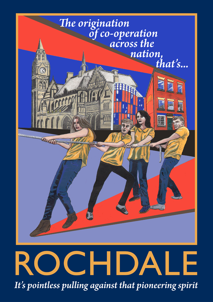 Rochdale poster, featuring the famous town hall, the first Co-op shop and the Cook family!