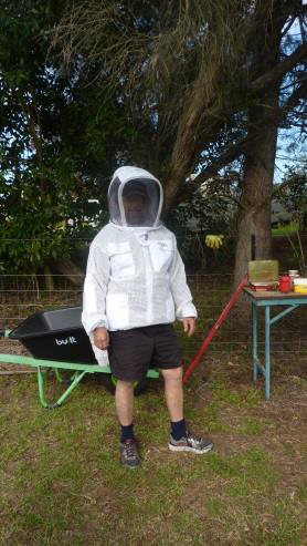 John modelling the latest fashion in personal protective equipment…..what about the legs?