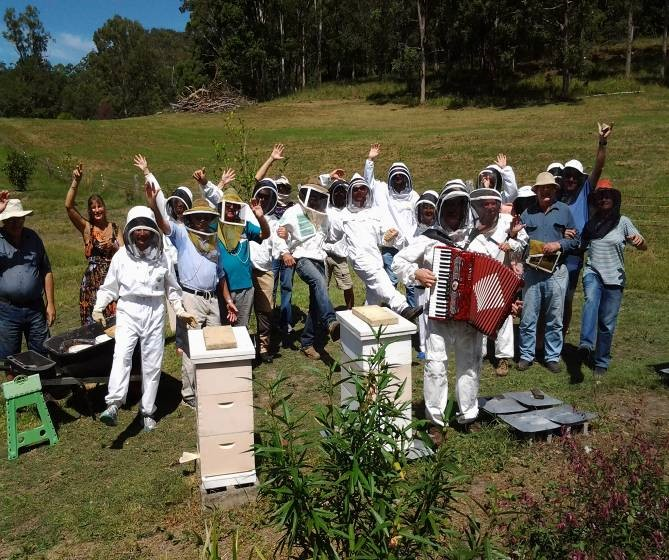 Gotta keep those bees happy – Dancing and singing in the apiary!