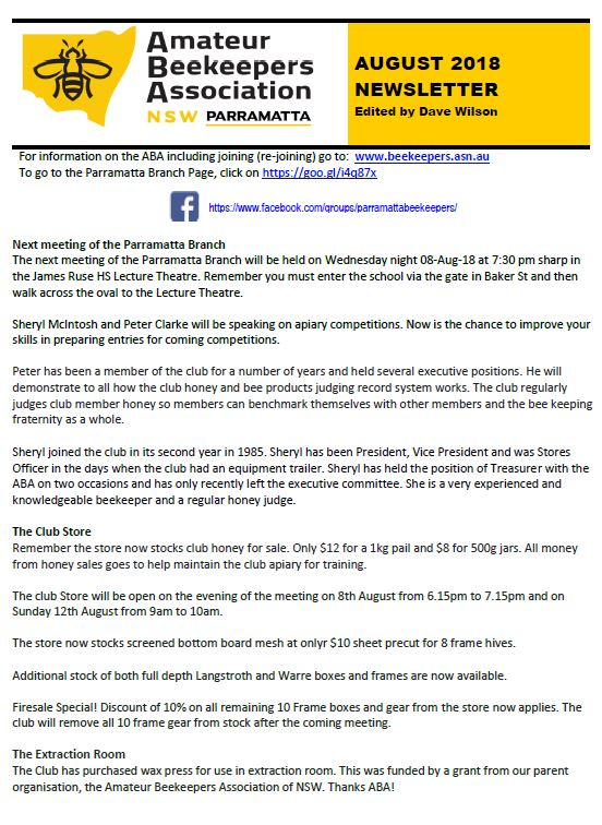 Parramatta newsletter - August 2018 — Amateur Beekeepers