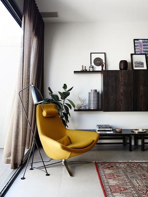 KM | Colour study 02, Mustard - midcentury apartment, egg chair, residential design