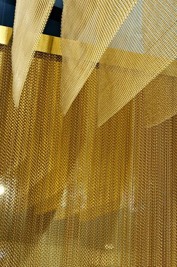 KM | Colour study 02, Mustard - layered gold mesh ceiling