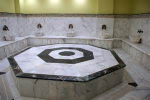Hamams are some of the most beautiful places. They all carry a very spiritual feel to them. Pictured here is a typical Hamam with the marbled center and wash basins. Photo taken from public domain stock files.