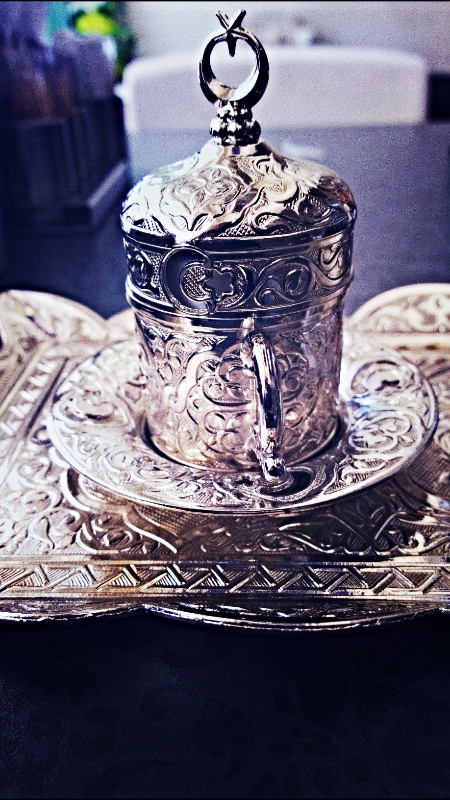 My favourite piece in the set is definitely the demitasse cup- with its cover. This one is un-apologetically Turkish and undeniably Middle Eastern.