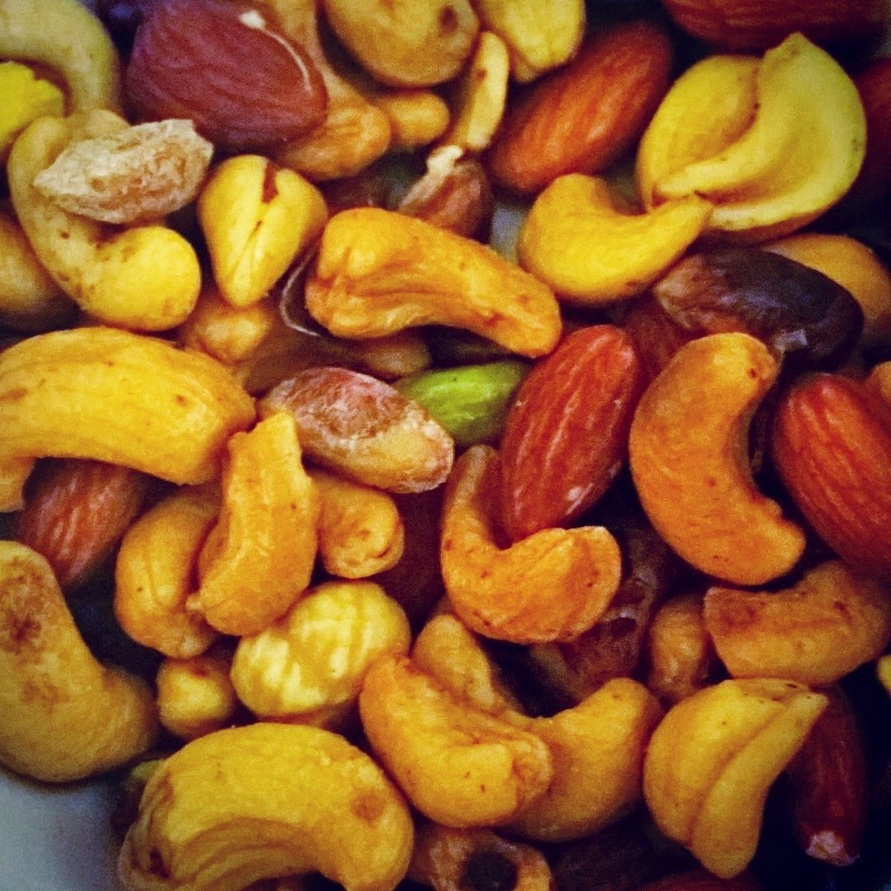 A medley of mixed unsalted nuts