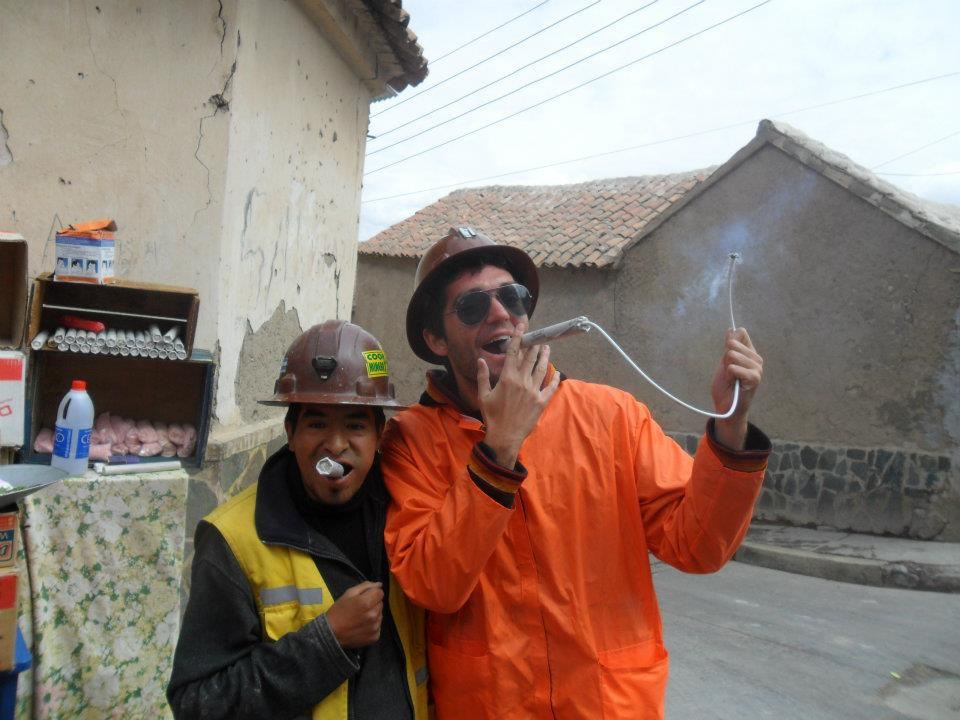 Our hostel owner and guide smoking some dynamite with me