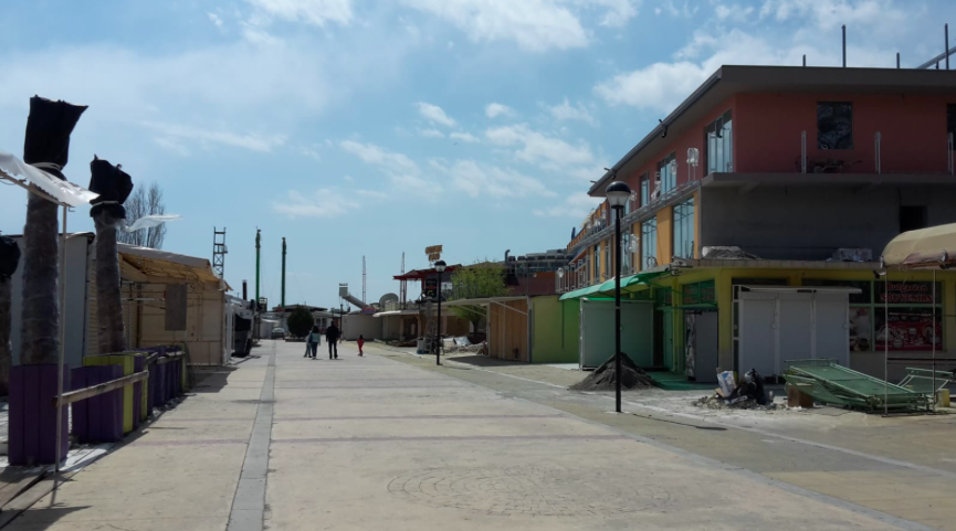 Bustling streets of Sunny Beach in Easter