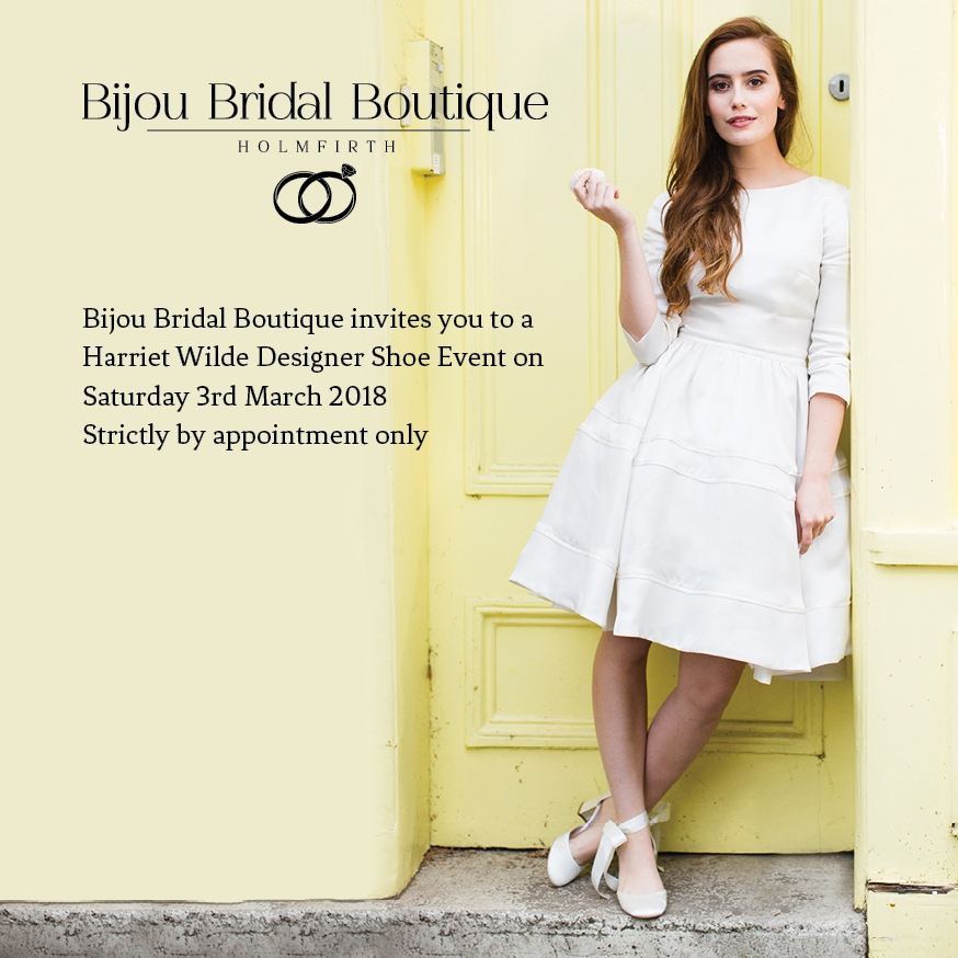 The beautiful new 2018 collection of bridal shoes will be in the boutique on Saturday 3rd March for a show stopping shoe bonanza!  By appointment only, come and meet the designer Ruth Shaw and enjoy a glass of something bubbly while you choose your perfect bridal shoes.  Limited spaces so don't delay and call the boutique now to book your exclusive appointment.