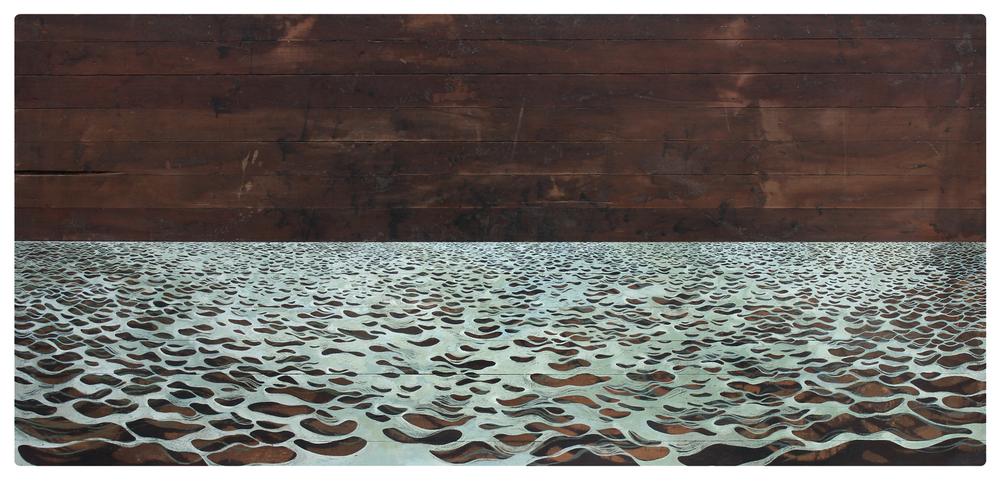 Years of Dust & Dry I  2012—2013 260 x 123 x 12 cm · Gouache on farmhouse tabletop