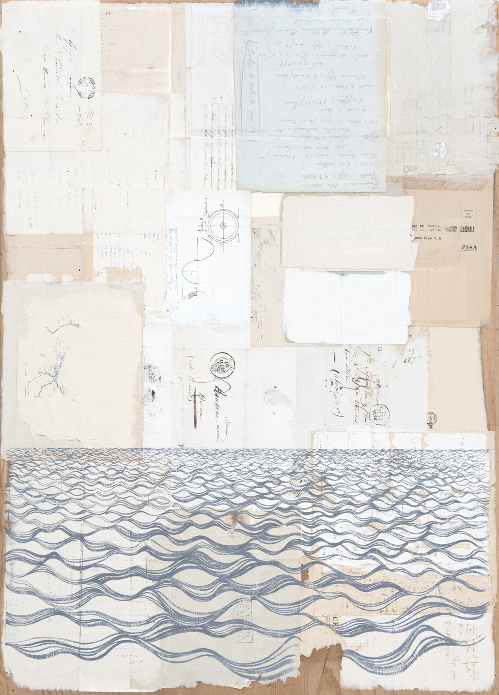 Der Gehele Aarde III  2015 · 59 x 81 cm · Gouache + ancient letters, envelopes, telegrams and ephemera (on drawing board)