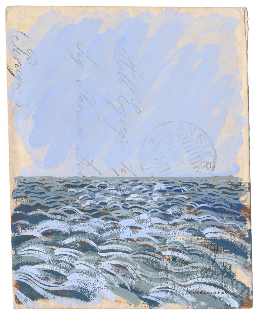 Mor Breizh IV • Gouache on envelope • £600 • Sold (framed)