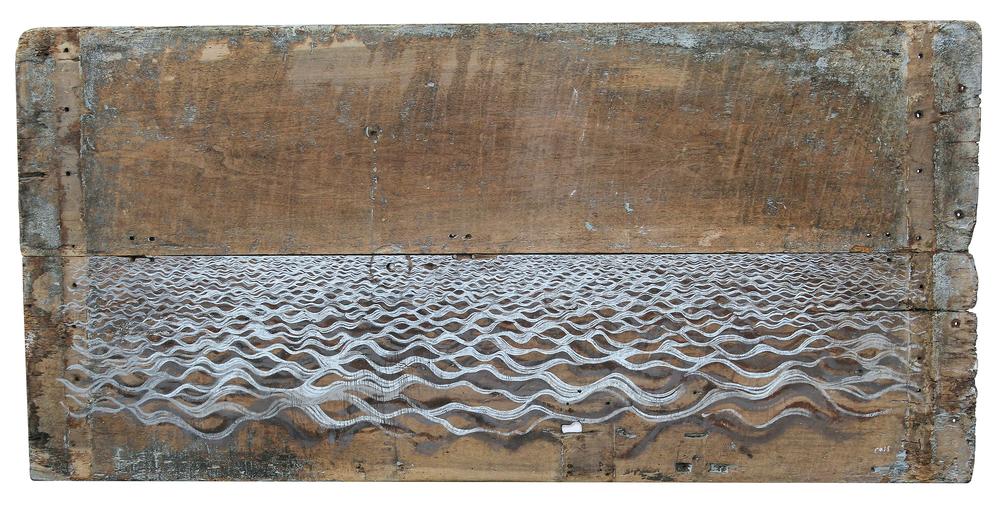 Years of Dust and Dry III  2013 172 x 83 cm · Gouache on door (France c.1750)