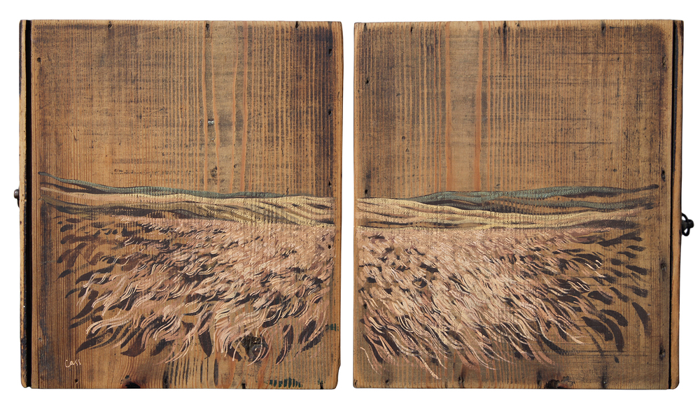 Two Seconds (Lauder Moor)  2013 36.5 x 20.5 cm · Gouache on two drawer bases