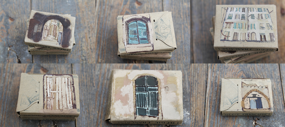 Fragments  2011 · Ventimiglia, Italy Gouache on primitive matchboxes
