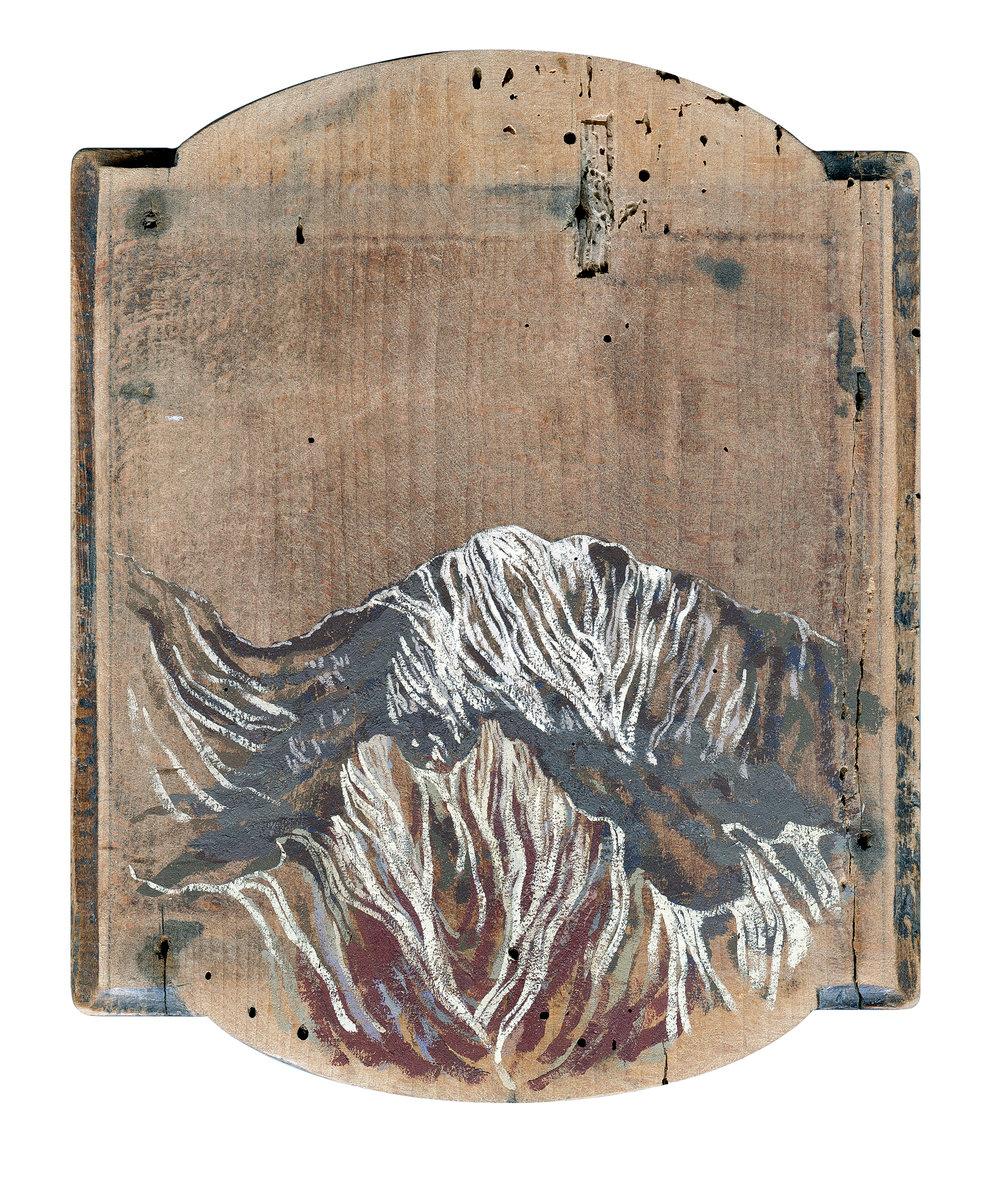 Veins  2013 16 x 18 cm · Gouache on wooden coffee-grinder base