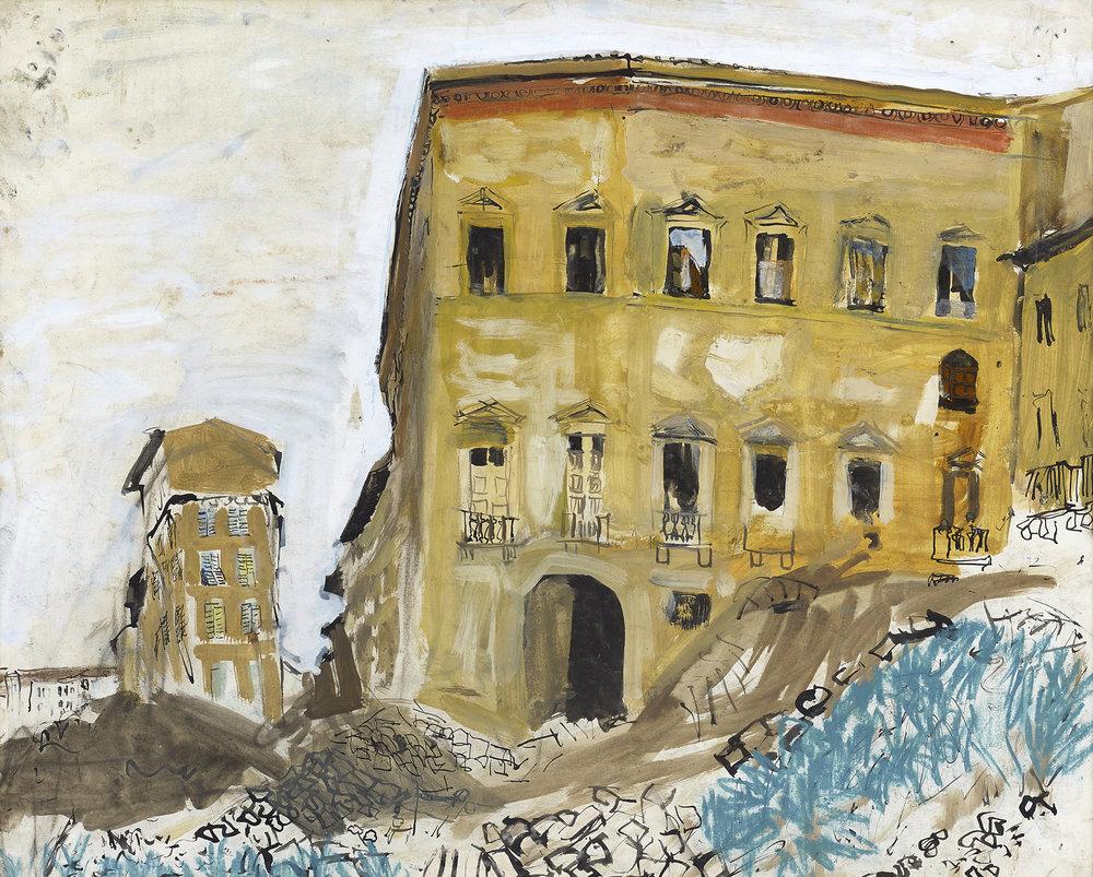 Joan Eardley: Building, Palazzo Type • 1948-49 • Gouache • 49 x 42 cm • Contact The Scottish Gallery