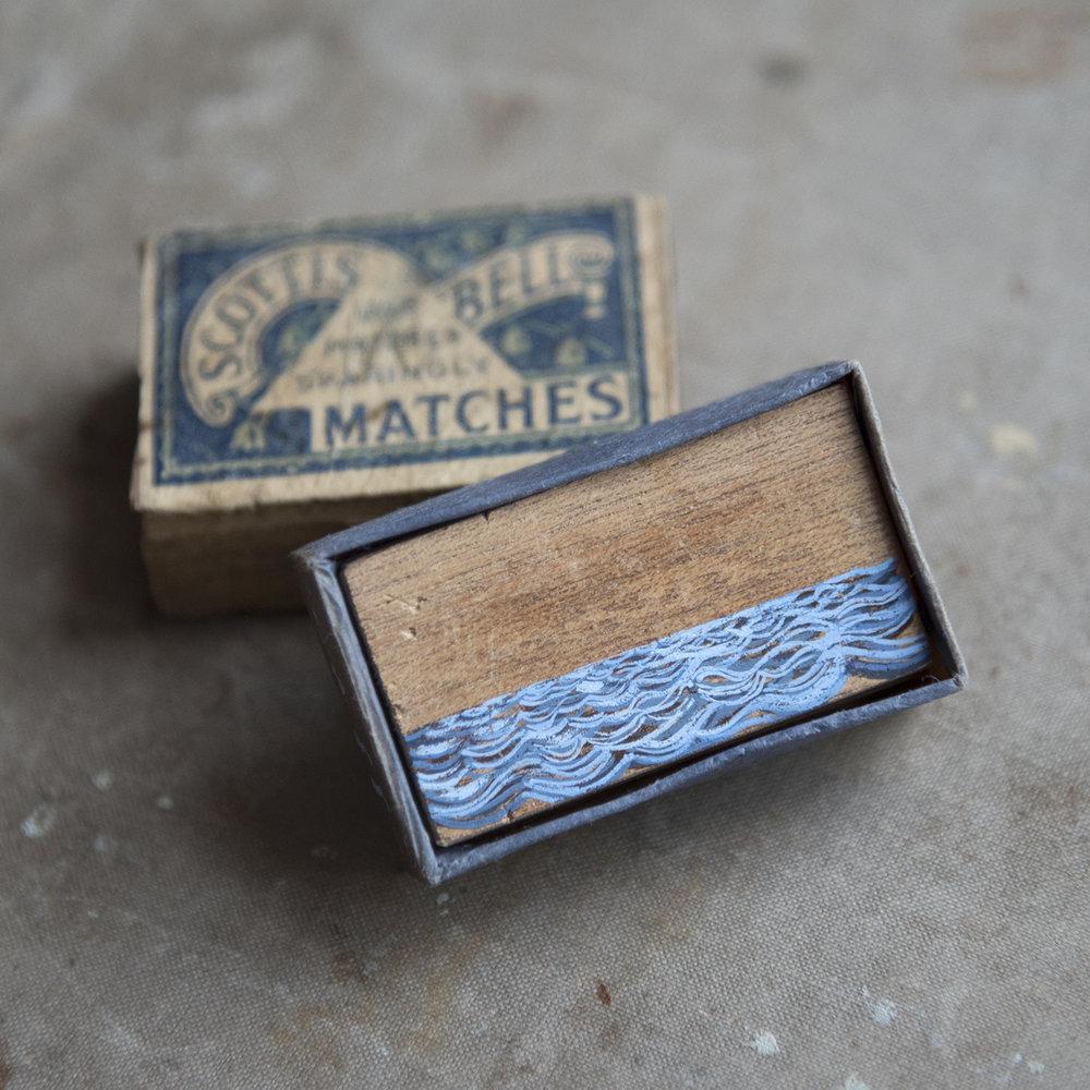 Scottish Bell (Matchbox Seascape)  2017 Gouache on wood within matchbox
